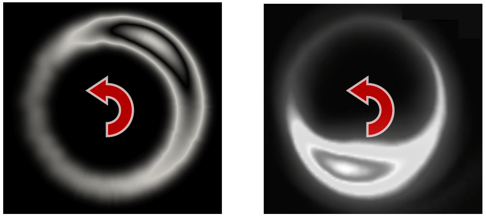 Spokes: Highly ionized regions due to local plasma instabilities. Comparison of simulation (left) and experiment (right).