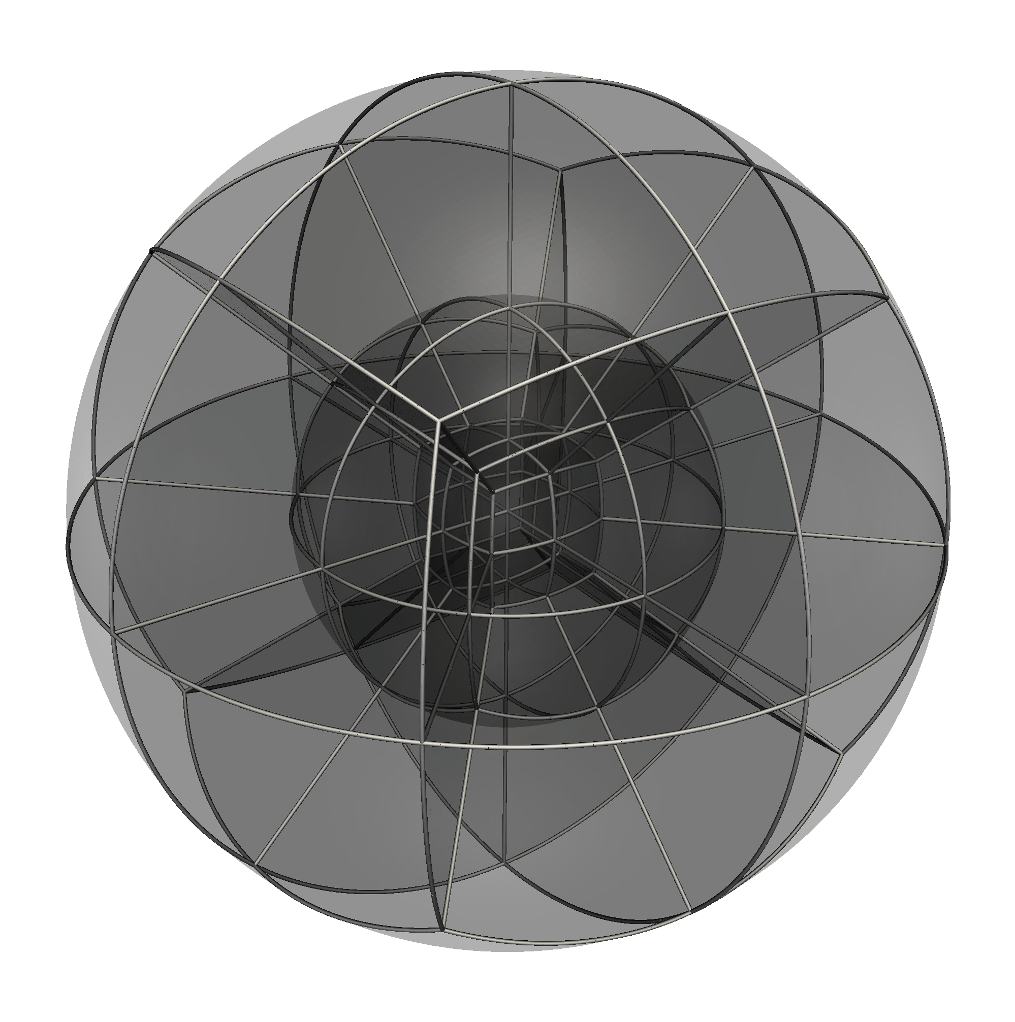 Three-dimensional curvilinear hexahedral mesh
